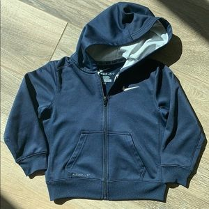 Nike sweater with hoodie. Navy blue .4T